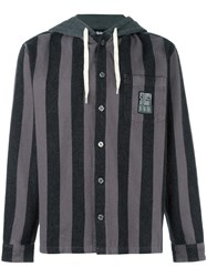 Stussy Buttoned Striped Hoodie Black