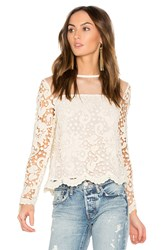 Endless Rose Swiss Dot Mesh Top Ivory