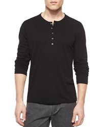John Varvatos Long Sleeve Button Front Henley Shirt Black Women's