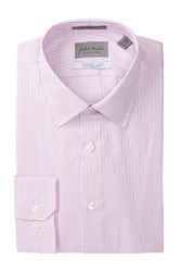John W. Nordstrom Long Sleeve Trim Straight Fit Shadow Stripe Dress Shirt Pink