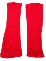 Label Under Construction Fingerless Gloves Red