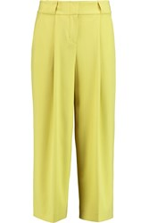 Dkny Cropped Crepe Wide Leg Pants Yellow