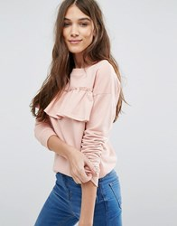 New Look Frill Front Sweat Top Pink
