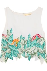 Mara Hoffman Cropped Embroidered Voile Top White Turquoise
