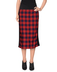 American Retro Knee Length Skirts Red