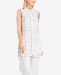 Vince Camuto Two By High Low Plaid Tunic New Ivory