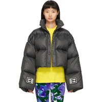 Off White Black Down 3D Cropped Puffer Jacket