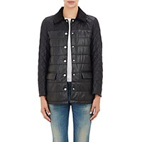 Barneys New York Women's Leather Quilted Jacket Black Blue Black Blue
