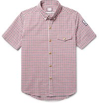 Moncler Gamme Bleu Slim Fit Button Down Collar Checked Cotton Seersucker Shirt Red