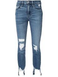 3X1 Straight Authentic Cropped Jeans Blue