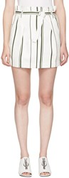 3.1 Phillip Lim Off White Striped Paper Bag Miniskirt