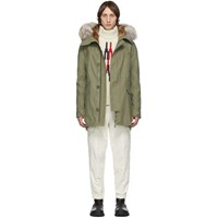 Yves Salomon Khaki Down And Fur Parka