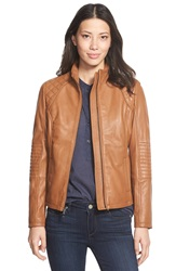 Dkny Quilt Detail Lambskin Leather Moto Jacket Luggage