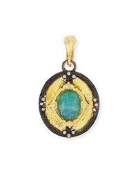 Armenta Old World 18K Gold Shield Pendant W Malachite Rainbow Moonstone Doublet