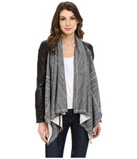 Blank Nyc Vegan Leather Sleeved French Terry Drape Front Jacket Grey Black Women's Jacket Gray