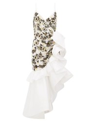 Rodarte Ruffled Floral Beaded Silk Blend Tulle Dress White Multi