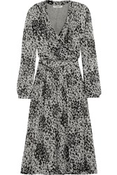 Burberry Leopard Print Silk Chiffon Wrap Dress Animal Print