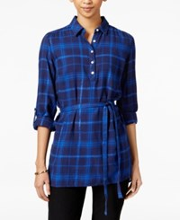 Tommy Hilfiger Selena Belted Plaid Shirt Only At Macy's Peacoat