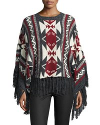 Raga Aztec Dreams Fringed Sweater Gray