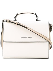 Armani Jeans Logo Plaque Shoulder Bag Women Polyurethane Synthetic Resin One Size Nude Neutrals