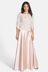 Js Boutique Lace And Satin Gown Pink