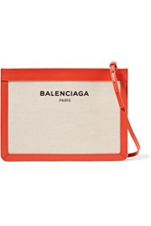 Balenciaga Leather Trimmed Canvas Shoulder Bag Beige