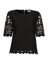 Linea Broidery Lace Top Black