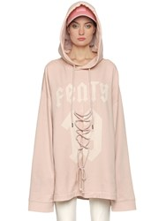 Fenty X Puma Lace Up Detail Hooded Cotton Sweatshirt