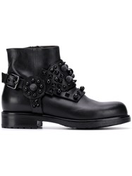 Albano Studded Ankle Boots Black