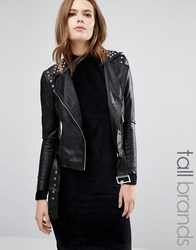 Vero Moda Tall Stud Faux Leather Biker Jacket Black