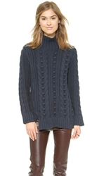 525 America Popcorn Turtleneck Sweater Navy