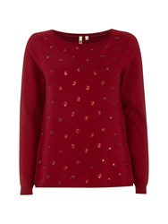 White Stuff Sequin Spot Jumper Red