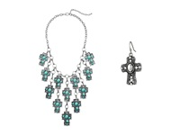 Mandf Western Stone Cross Bib Necklace Earrings Set Turquoise Jewelry Sets Blue