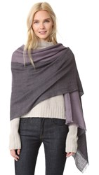 Maiyet Lightweight Colorblock Cashmere Shawl Charcoal Dusty Purple