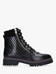 Carvela Suceed Leather Lace Up Hiker Boots Black