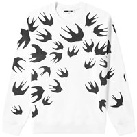 Mcq By Alexander Mcqueen Large Swallow Print Crew Sweat White