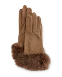 Portolano Fur Cuff Knit Tech Gloves Off Brown Brown