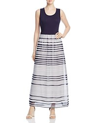 Calvin Klein Printed Layered Look Maxi Dress Twilight Soft White