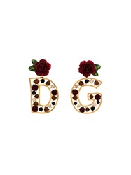 Dolce And Gabbana Gold D G Rose Embellished Earrings