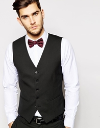 Selected Tuxedo Waistcoat With Jacquard In Skinny Fit Black