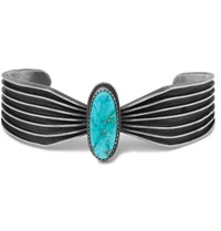 Foundwell Vintage 1970S Sterling Silver Turquoise Cuff Silver