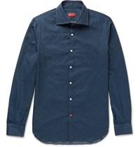 Isaia Slim Fit Printed Brushed Cotton Twill Shirt Navy