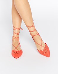 Aldo Harmony Peach Laser Cut Ghillie Lace Up Flat Shoes Orange