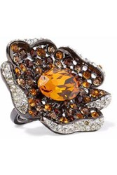 Kenneth Jay Lane Woman Gunmetal Tone Crystal Ring Orange
