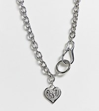 Reclaimed Vintage Inspired Logo Heart Necklace Silver