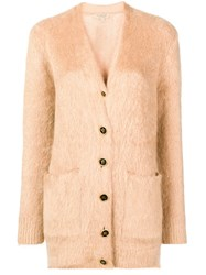 Burberry V Neck Midi Cardigan Brown