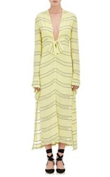 Proenza Schouler Women's Striped Gauze V Neck Long Dress Yellow