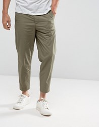 Kiomi Slim Fit Cropped Chino In Khaki Khaki Green
