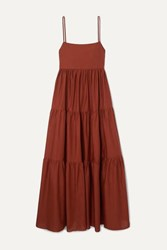 Matteau Open Back Tiered Cotton Poplin Maxi Dress Claret