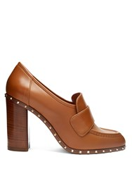 Valentino Soul Block Heel Leather Pumps Tan